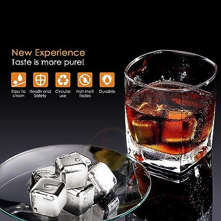 Simbr - Cubitos de acero inoxidable reutilizables para bebidas con estuche de plástico, 8