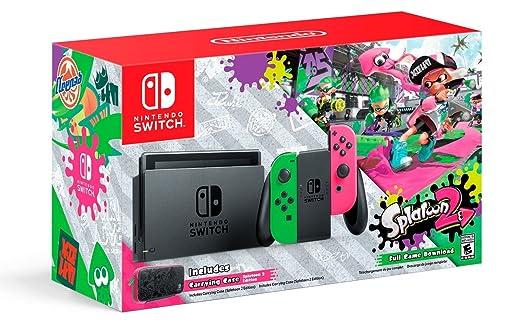 Amazon Com Nintendo Switch Hardware With Splatoon 2 Neon Green Neon Pink Joy Cons Nintendo Switch Video Games