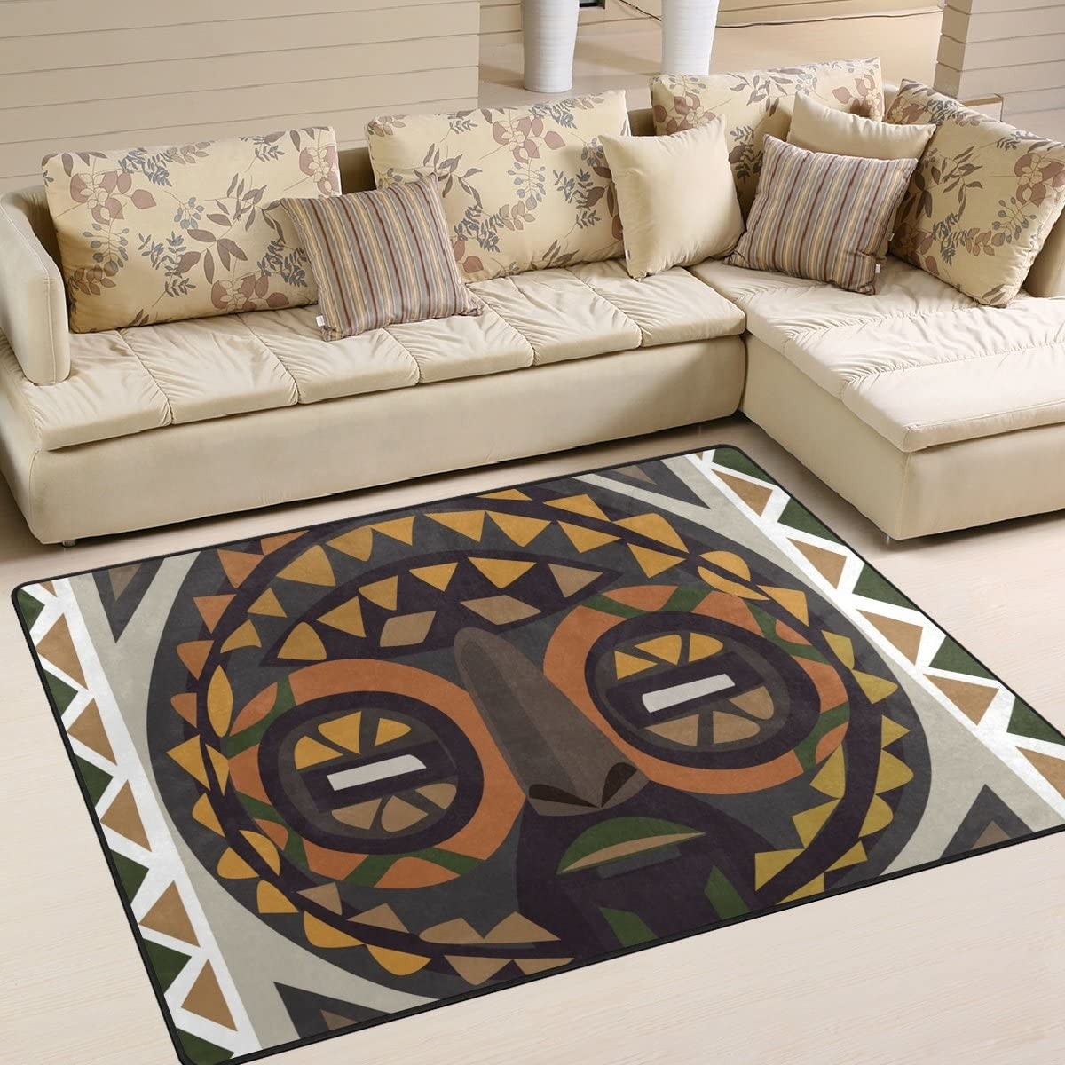 SAVSV Large Area Rugs African Mask Printed,Lightweight Water-Repellent Floor Carpet for Living Room Bedroom Home Deck Patio,6 8 x 4 10