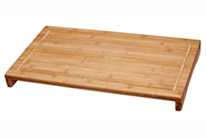 "Lipper International 8831 Bamboo Wood Over-The-Sink/Stove Kitchen Cutting and Serving Board, Large, 20-1/2"" x 11-1/2"" x 2"""
