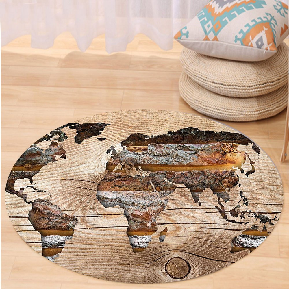 VROSELV Custom carpetModern Decor Map of South and North America Geography Themed Western Discovery Design for Bedroom Living Room Dorm Pale Green Blue Round 72 inches