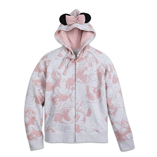 Amazoncom Disney Minnie Mouse Pink Bow Zip Hoodie Women Multi