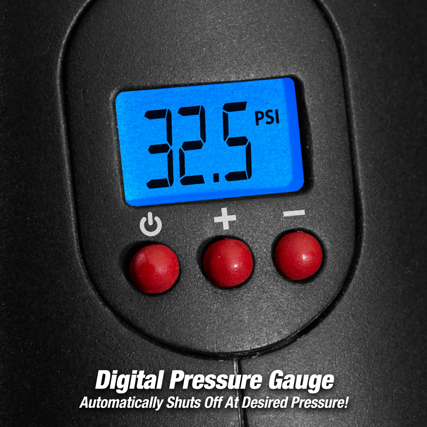 Built in LED Light Easy to Read Digital Pressure Gauge ONTEL Air Hawk Pro Automatic Cordless Tire Inflator Portable Air Compressor