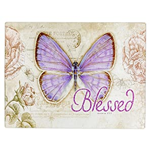 "Botanic Butterfly Blessings ""Blessed"" Glass Cutting Board / Trivet (Large: 15 3/4 x 11 7/8)"
