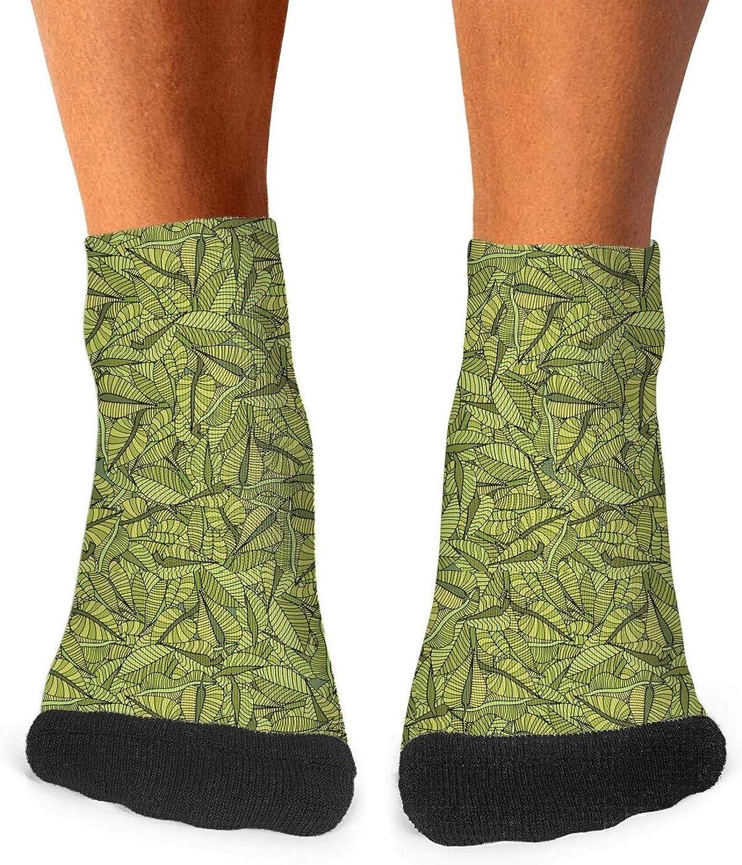 Floowyerion Mens Leafy Camo Green Novelty Sports Socks Crazy Funny Crew Tube Socks