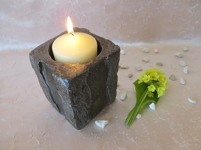 Kerzenschale windlicht als stein in bronze aus keramik ton