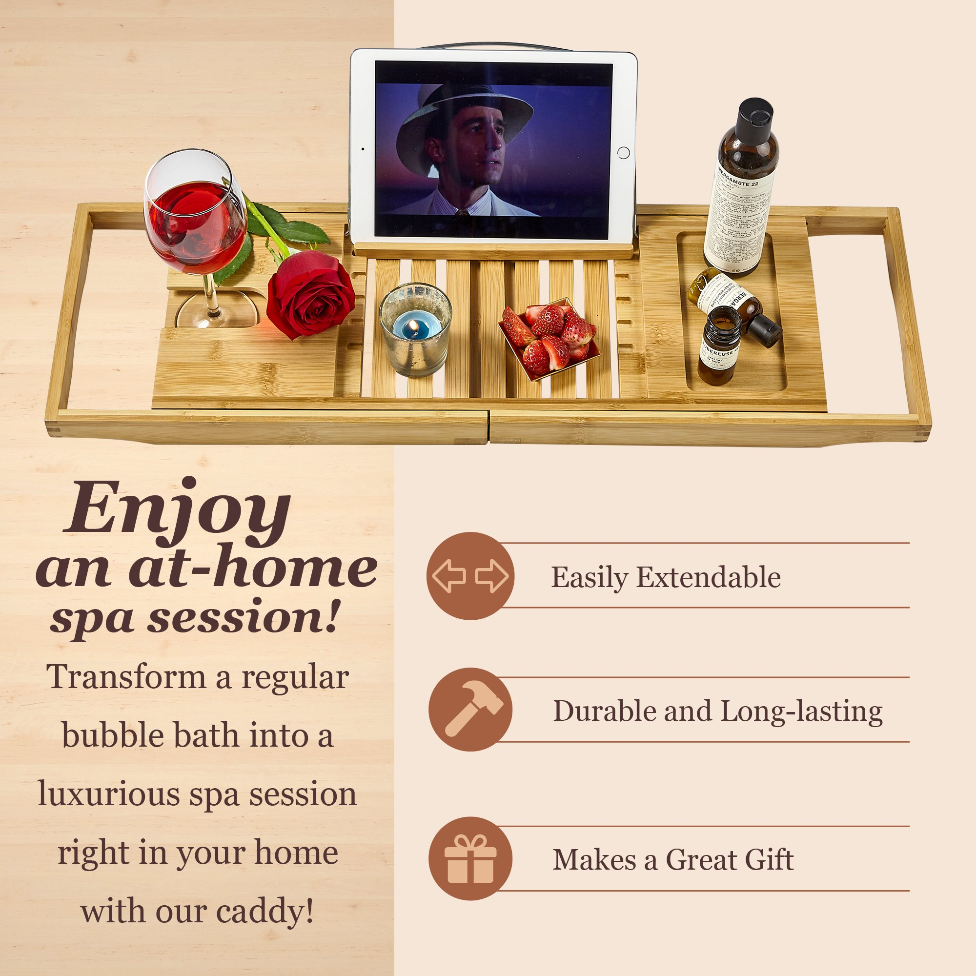 Tregini Luxury Bathtub Caddy - Extendable Bamboo Wood Bath Tray with Adjustable Book, iPad or Kindle Reading Rack - Wine Glass Holder - Cellphone or Tablet Slot by Tregini (Image #4)