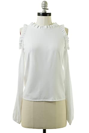 981fea63d38ea3 Image Unavailable. Image not available for. Color: MILLY Cold Shoulder  Ruffle Top in White