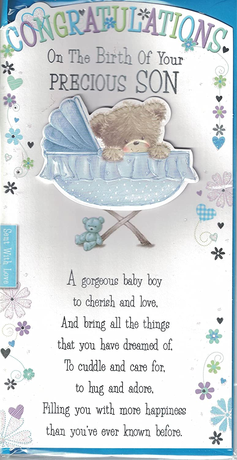 new baby boy card congratulations on the birth of your precious son baby bear