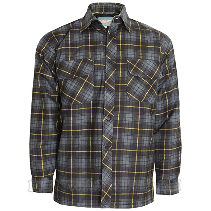 Mens Padded Collared Quilted Thick Lumberjack Check Button up Shirt Jacket M -2XL: Amazon.co.uk: Clothing