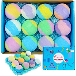 Rosevale Organic Bath Bombs Gift Set for Women, 12 x 5oz Bubble & Spa Bath Bombs, Natural Shea & Coco Butter Dry Skin Moisturize, Perfect Birthday Christmas Gift idea for Her, Girls, Moms