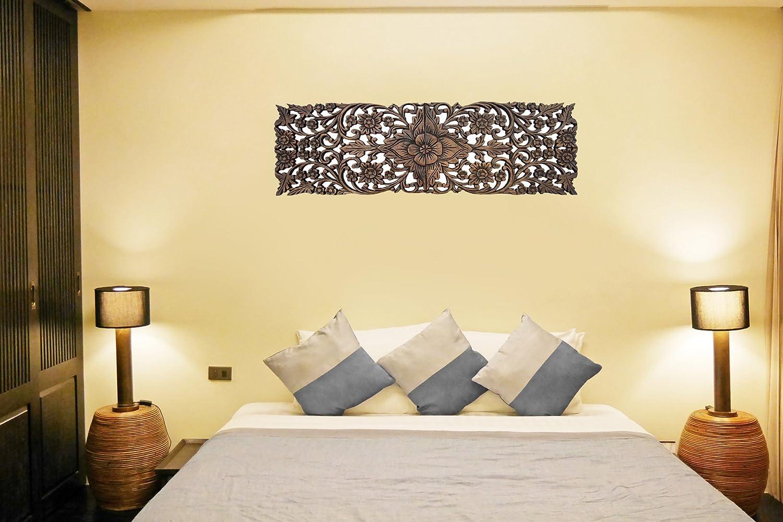 Amazon.com: Set of 2. Wood Wall Decor Lotus flower. Multi Panels ...