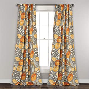 "Lush Decor (Pair 95"" x 52"" Yellow and Gray Poppy Garden Curtains Room Darkening Window Panel Set for Living, Dining, Bedroom, L, Yellow & Gray"