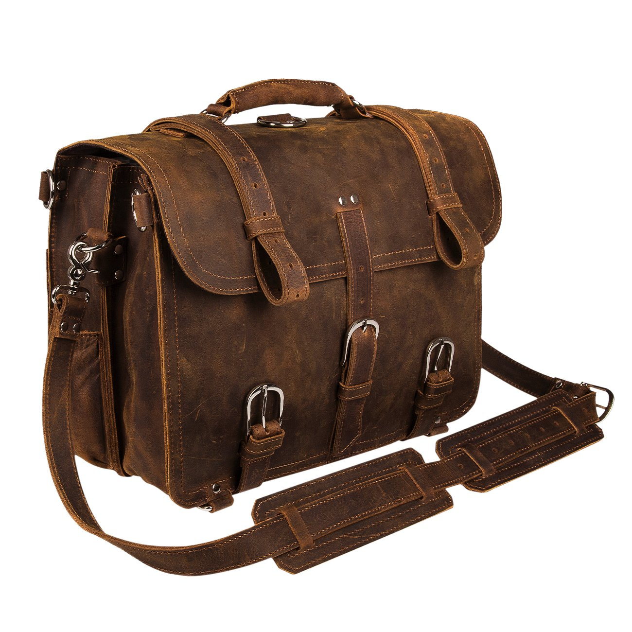 Augus Leather Messenger Bag for Men Briefcase Travel Backpack Shoulder Bag Fit 17'' Laptop by Augus