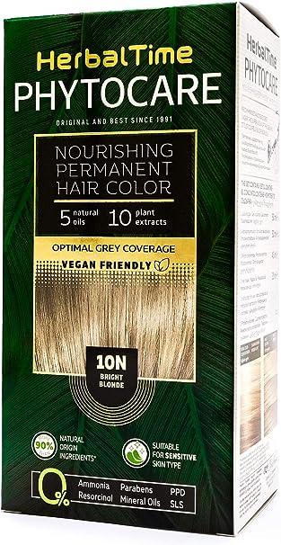 Phytocare Tinte permanente y nutritivo para cabello sin amoniaco, sin PPD, sin SLS, sin parabenos Color Rubio Muy Claro 10N