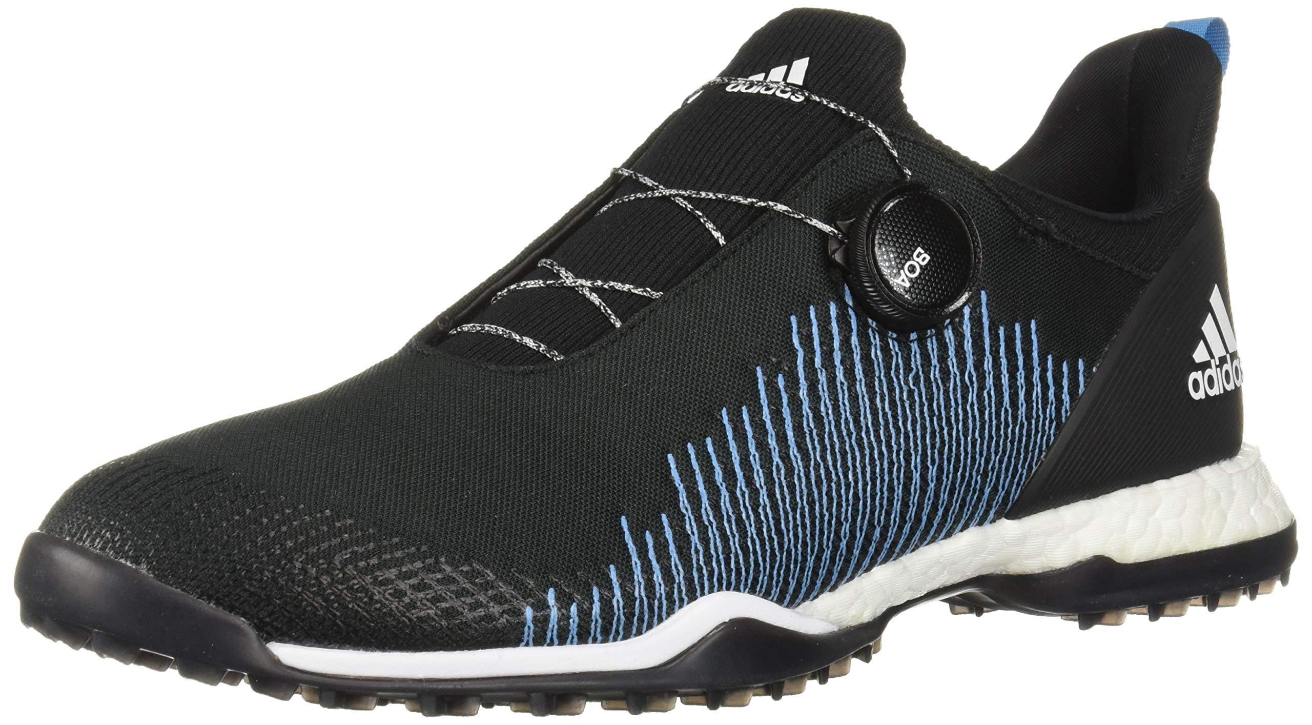 adidas Womens FORGEFIBER BOA Golf Shoe, core Black/FTWR White/Shock Cyan, 8 M US by adidas