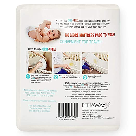 Amazon.com : Crib-A-Peel Disposable Bed Sheets Fitted for Crib Beds | 5-Layer Soft, Absorbent, Incontinence Mattress Pad | Breathable, Waterproof, ...