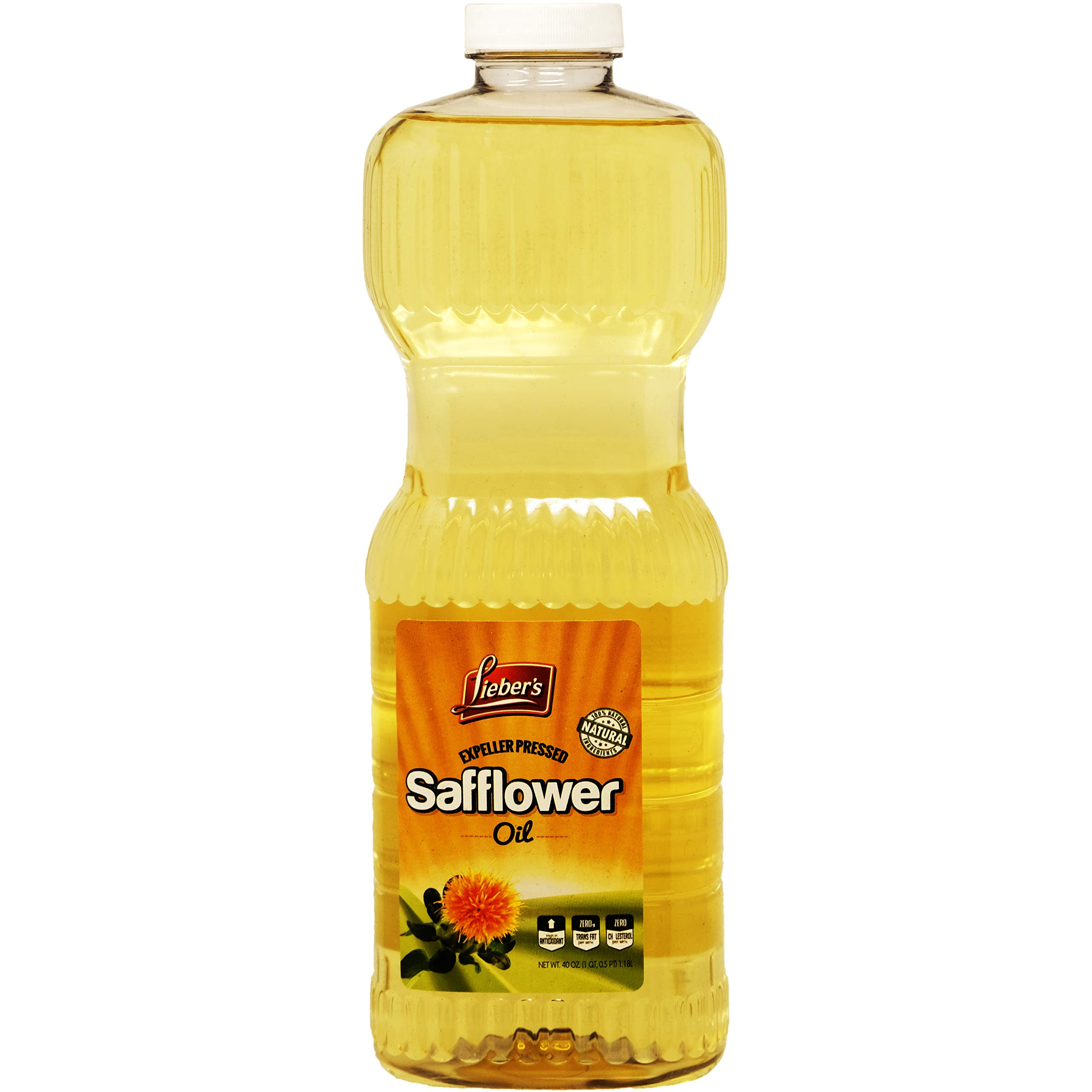 Safflower Oil, Kosher, 40 Ounce Bottle For Frying Baking And Salad No Cholesterol Low In Saturated Fat by Lieber's