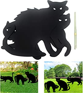 Deloky Halloween Yard Signs with Stakes- Black Cat Silhouette Yard Signs with Stakes-Halloween Yard Lawn Party Signs Decorations (3 PCS Cat)