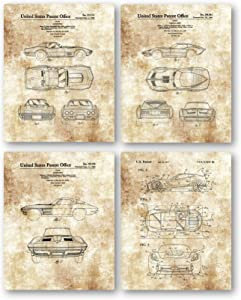 Ramini Brands Original Corvette Patent Art Drawings - Set of 4 8 x 10 Unframed Prints - Great Gift for Corvette Owners and Car Collectors