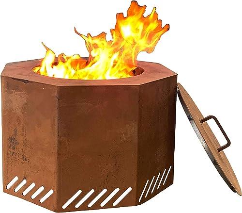 Titan Corten Steel Low Smoke Wood Burning Fire Pit 16