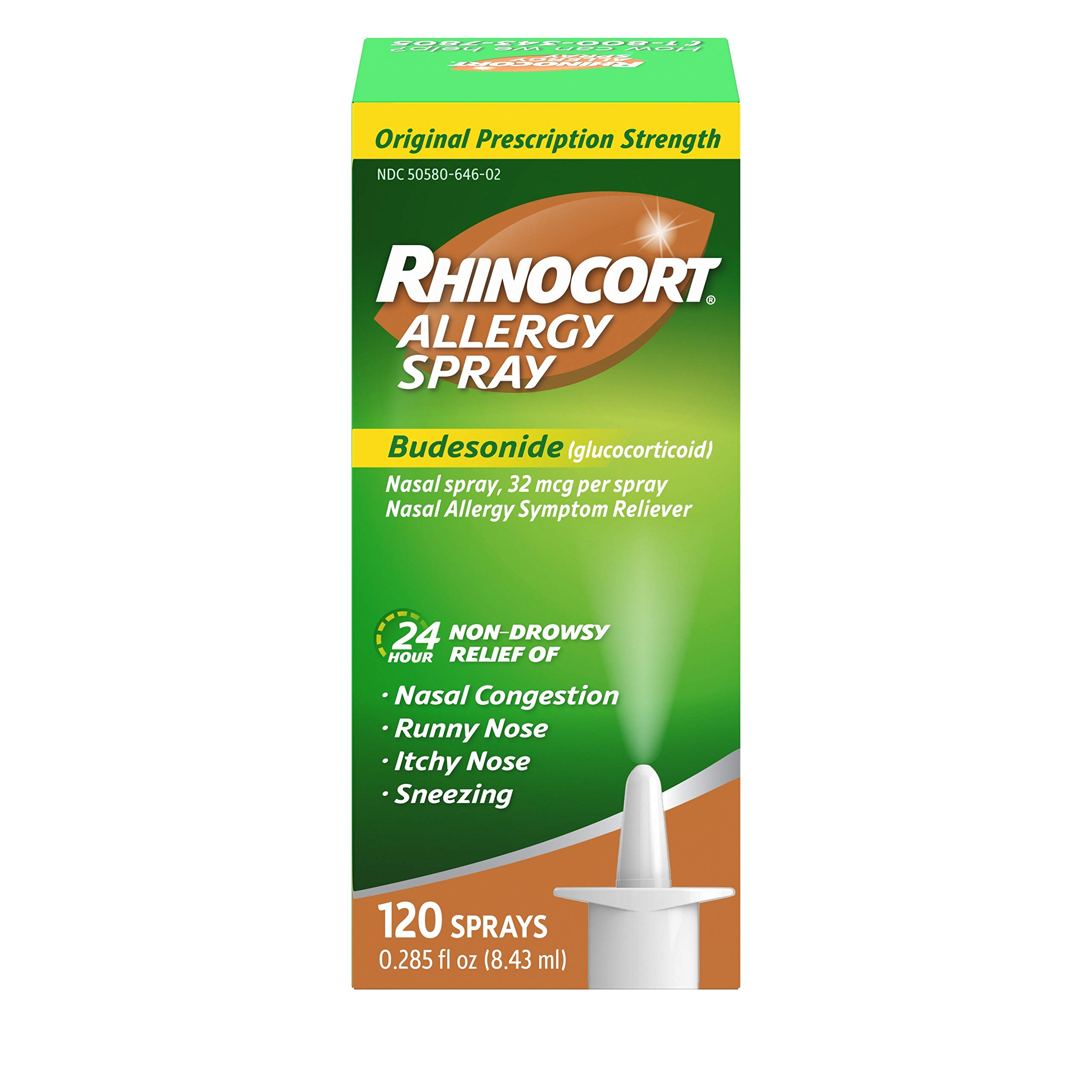 Rhinocort Allergy Nasal Spray with Budesonide Allergy Medicine, Non-Drowsy 24 Hour Relief, Prescription Strength Indoor and Outdoor Allergy Relief, Scent-Free and Alcohol-Free, 120 Sprays by rhinocort