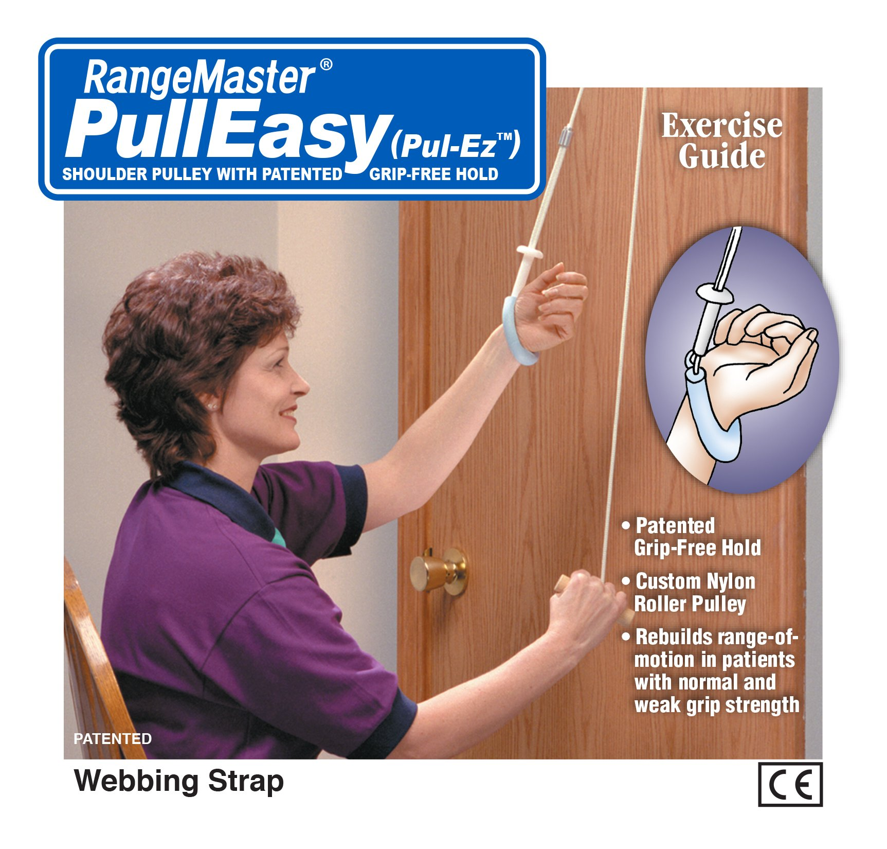Pull-Easy Grip Free Shoulder Pulley with Patient Guide - Web Strap Door Attachment by RangeMaster (Image #2)