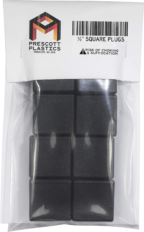 Prescott Plastics 1//2 Inch Square Plastic Plug Tubing Post End Cap Chair Glide 50