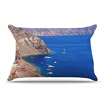 30 X 20 30 by 20-Inch Kess InHouse Sylvia Coomes Life is Better at The Beach Tan Blue Standard Pillow Case
