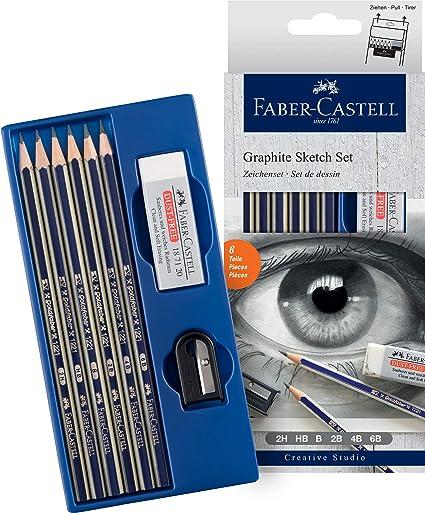 Set grafito Creative Studio con 6 lápices Goldfaber, 2H, HB, B, 2B, 4B, 6B + afilalápices y goma: Amazon.es: Oficina y papelería