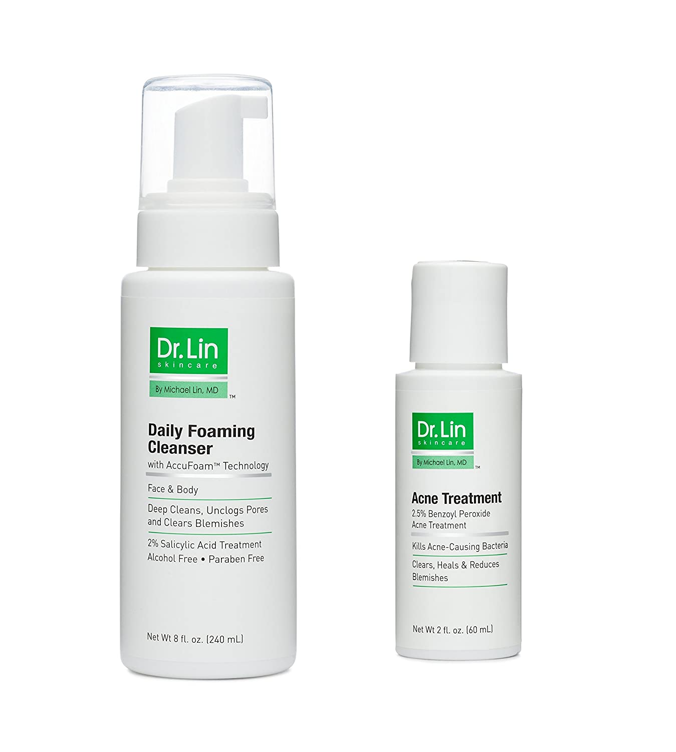 Amazon Com Dr Lin Skincare Body Acne Kit Clears Back Acne Zits Pimples Blemishes Breakouts Includes 8 Oz Daily Foaming Cleanser 2 Oz Acne Treatment Cruelty Free Made By A Dermatologist