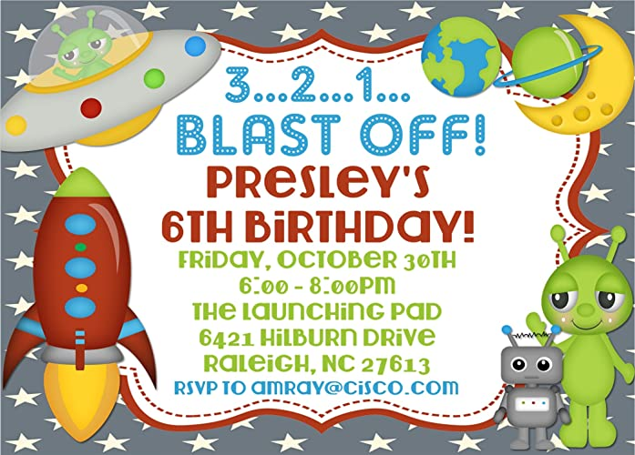 Amazon Outer Space Birthday Party Invitations Handmade