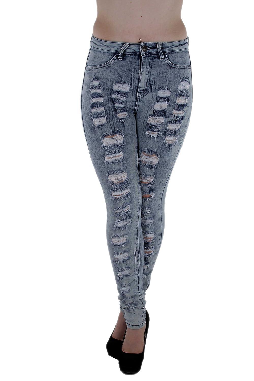 1682– VIP Jeans – Super High Rise, Ripped Bleach Wash Stretch Skinny Jeans