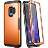 Galaxy S9 Case, YOUMAKER Metallic Orange with Built-in Screen Protector Heavy Duty Protection Shockproof Slim Fit Full Body Case Cover for Samsung Galaxy S9 5.8 inch (2018) - Orange/Black