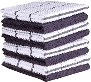 Amour Infini Terry Dish Cloth | Set of 8 | 12 x 12 Inches | Super Soft and Absorbent |100% Cotton Dish Rags | Perfect for Household and Commercial Uses | Gray