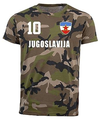 Jugoslawien Camouflage T-Shirt WM 2018 Trikot Style Fußball Nummer ALL 10