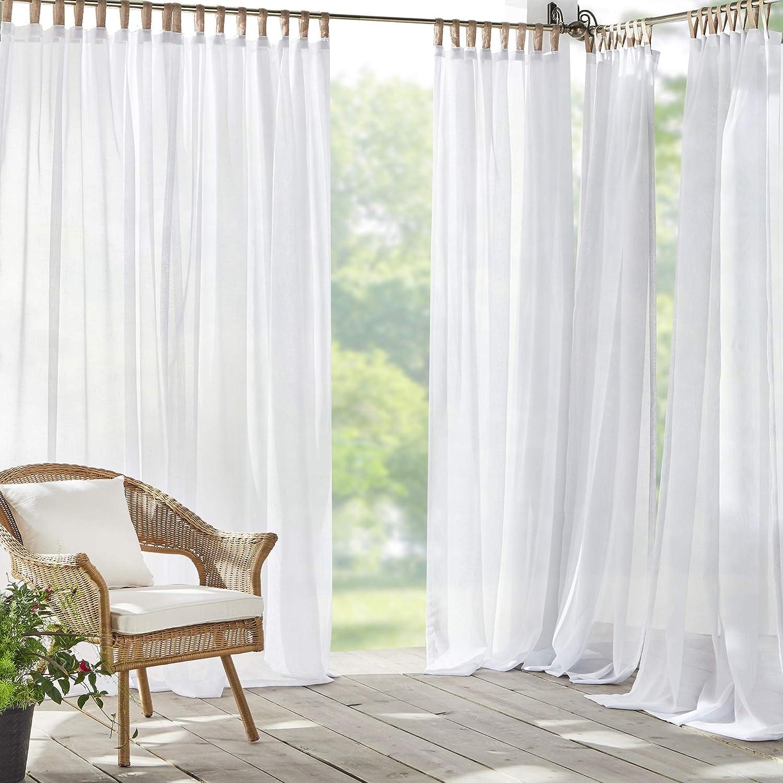 Elrene Home Fashions Darien Solid Sheer Indoor/Outdoor Adhesive Loop Fastener Tab Top Window Curtain Panel for Patio, Pergola, Porch, Deck, Lanai, and Cabana, 52