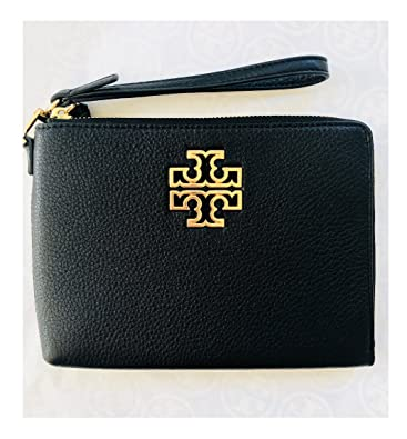 45da43878b4 Tory Burch Britten Large Pebbled Leather Zip Pouch Wristlet (Black)   Handbags  Amazon.com