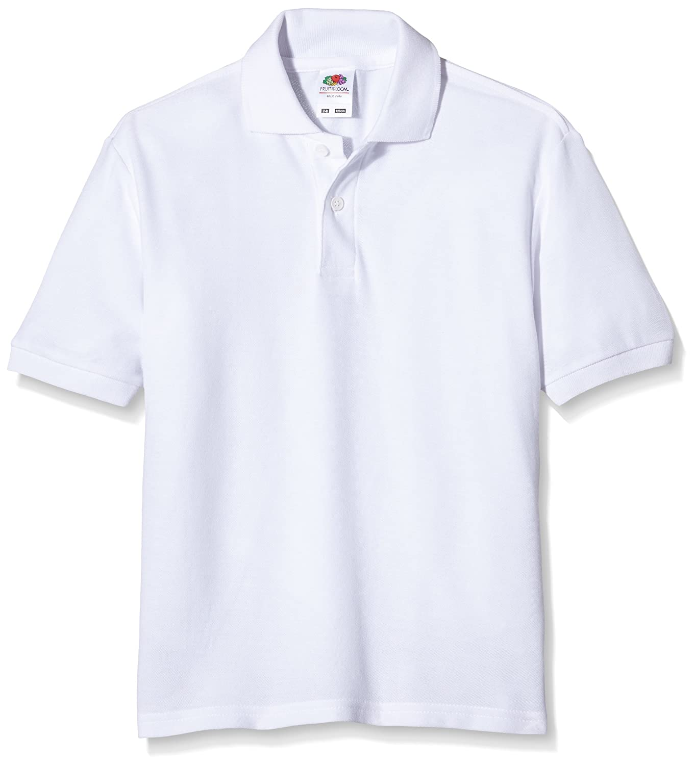 Fruit of the Loom childs 65/35 pique polo shirt White age 9 to 11 63-417-0