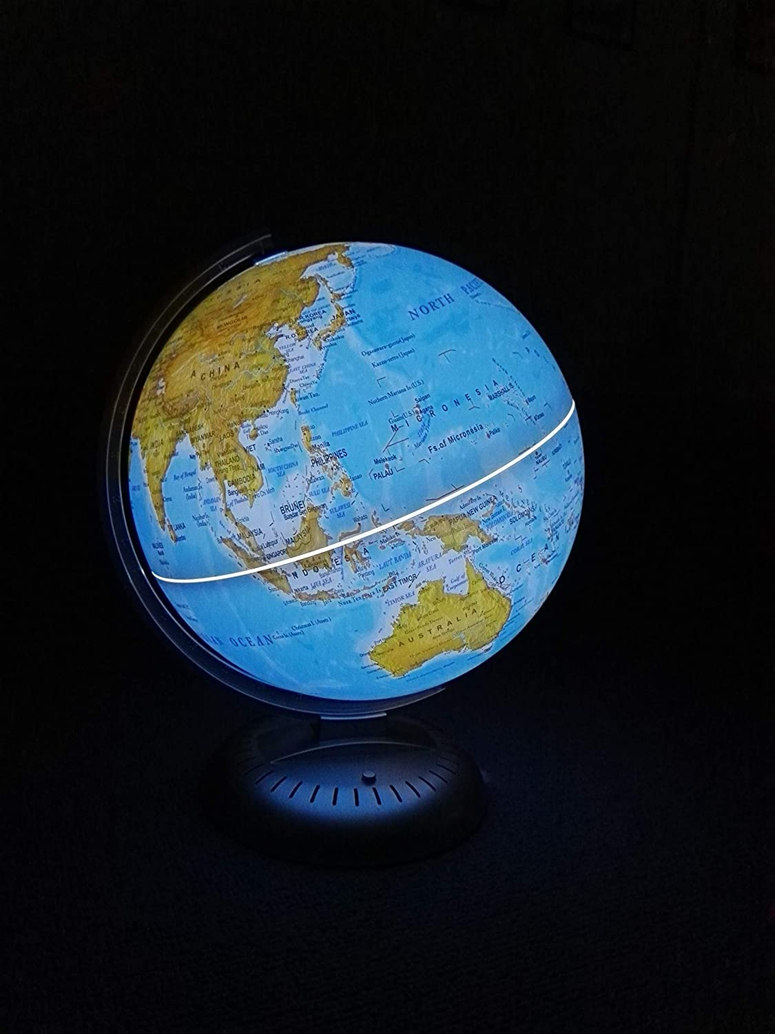 Interactive 2 in 1 Illuminated World Globe for Kids with Stand with Built-in LED for Illuminated Night View Lights up in Dark