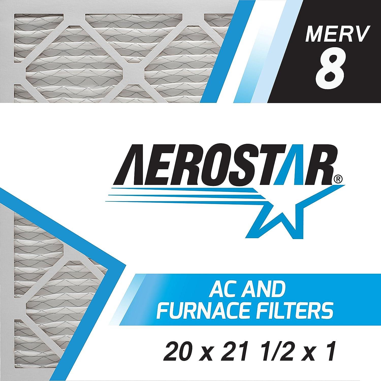 Aerostar 20x21 1/2x1 MERV 8, Pleated Air Filter, 20 x 21 1/2 x 1, Box of 6, Made in The USA
