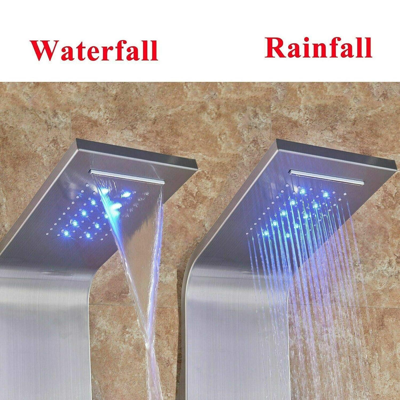 con luce a LED a cascata Pannello doccia da bagno in acciaio inox spazzolato con sistema di massaggio della temperatura e getto del corpo doccetta per bidet e vasca da bagno Onyzpily