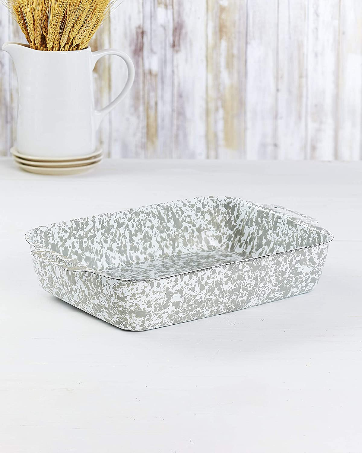 Enamel Coated Metal Bakers Dish - Stylish Speckled Paint Scheme - Green