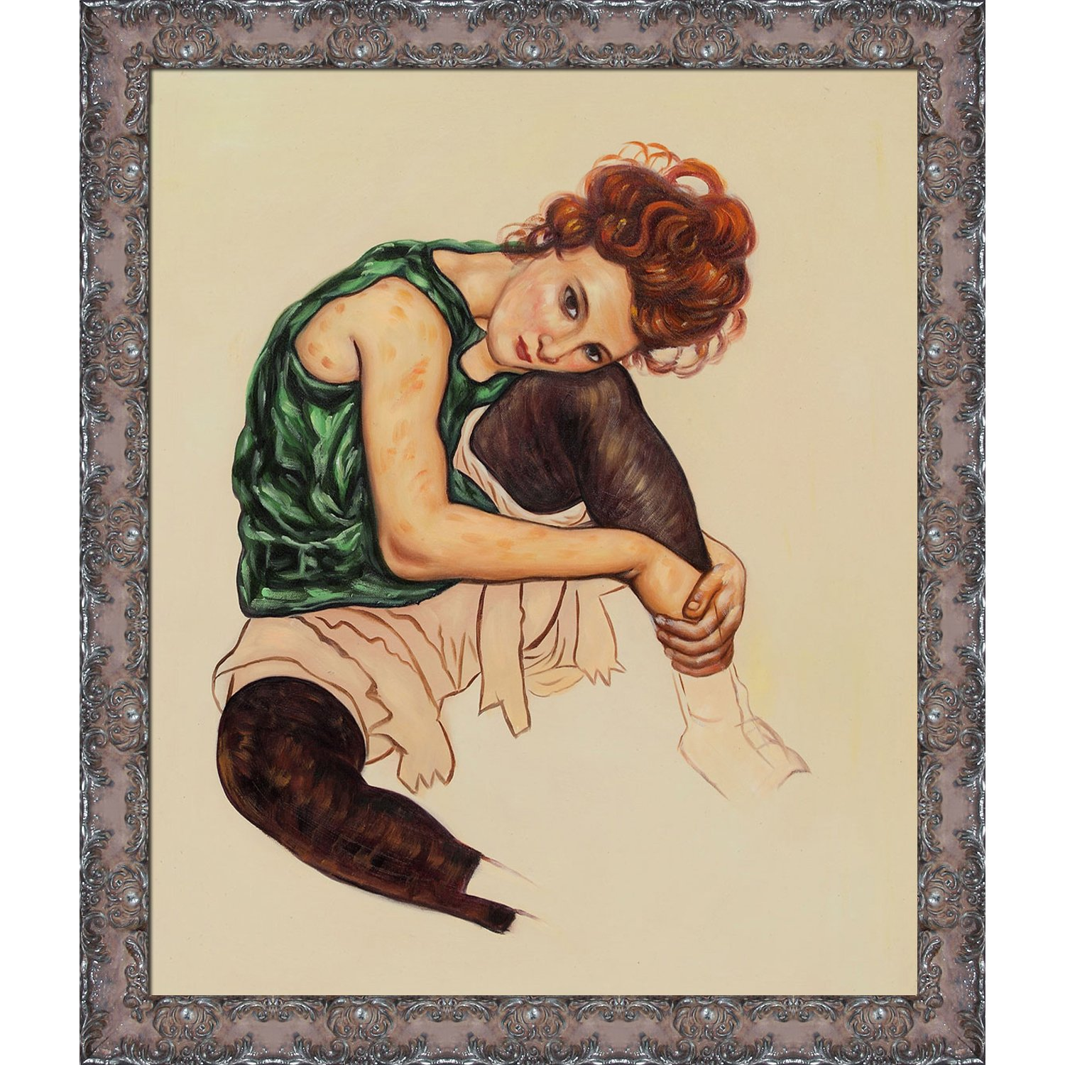 overstockArt Seated Woman with Legs Drawn Up Framed Hand Painted Oil on Canvas