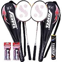 Silver's Kinetic 2 Rackets, 1 Box C Marvel, 2 PVC Grip Badminton Racquet (Black/Red)