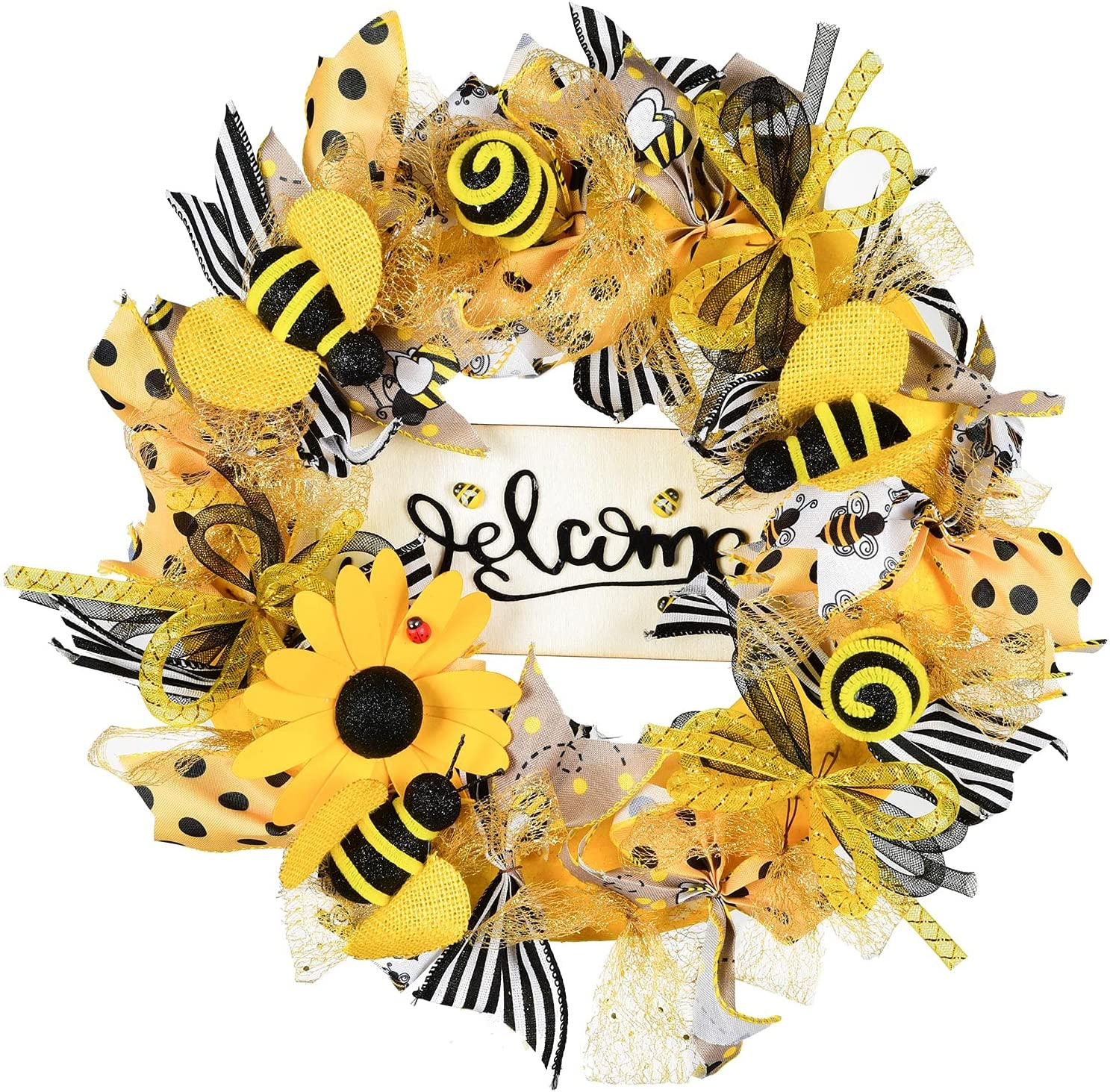 Lvydec Bee Wreath Front Door Decor, 15 Inch Yellow Wreath with Welcome Sign and Artificial Bees, Summer Wreath for Front Door Window Home Decoration