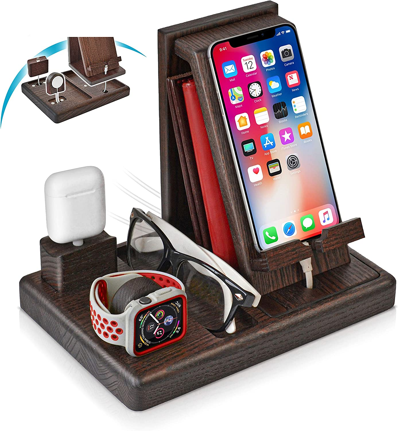TESLYAR Wood Phone Docking Station Ash-Wood Key Holder Wallet Stand Watch Organizer Men Gift Husband Wife Anniversary Birthday Nightstand Graduation Male Gadgets Compatible with iPhone iWatch AirPods