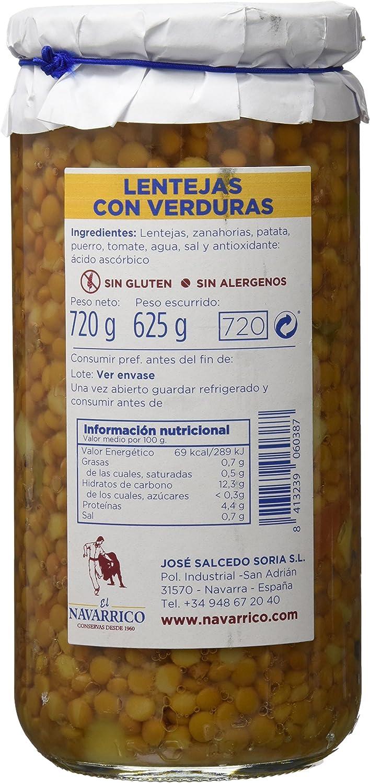 El Navarrico 0612123, Lenteja con Verduras - Paquete de 3 x ...