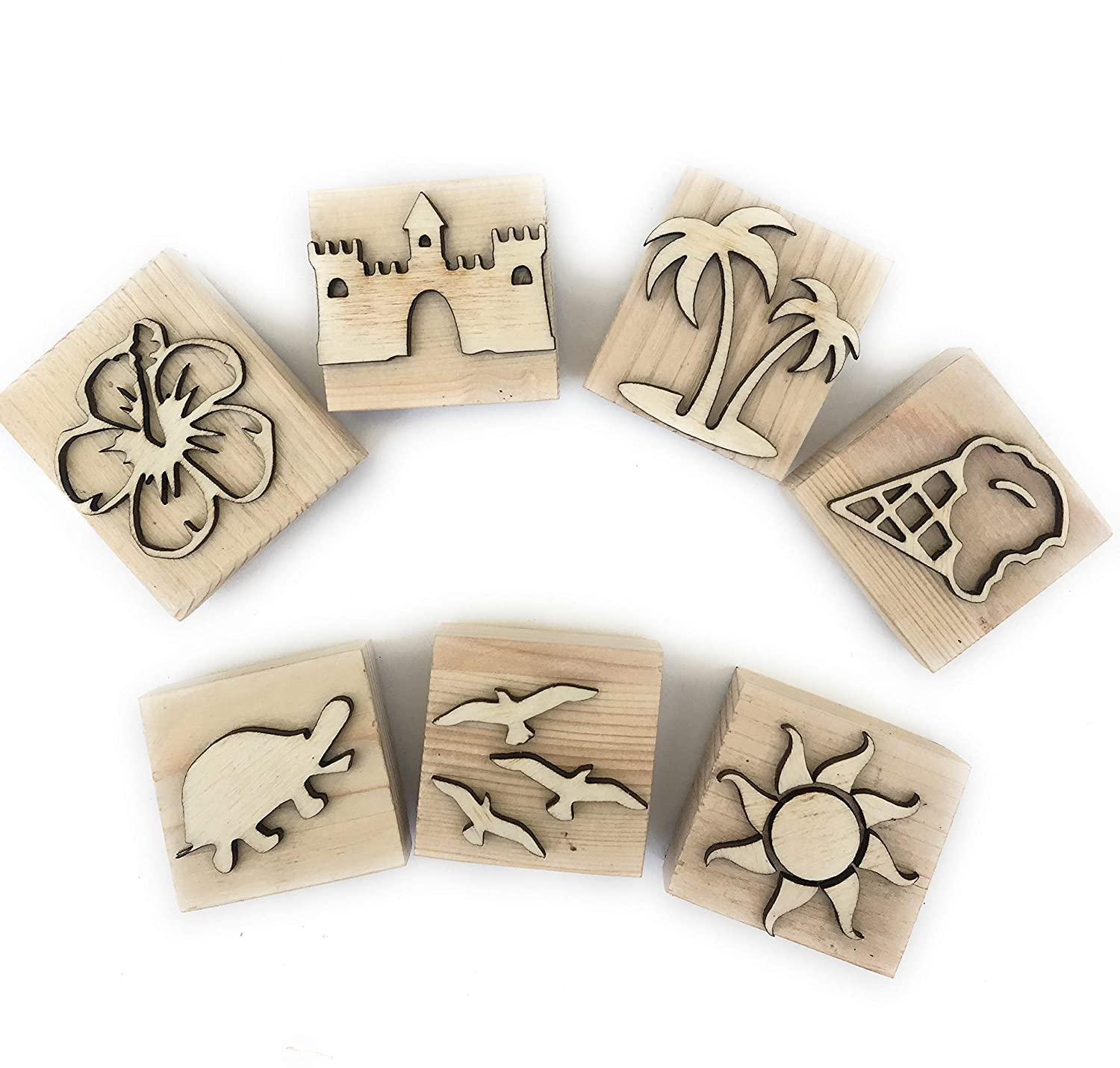 Summer themed wooden play dough stampers wooden playdough molds summer stamps kinetic sand molds slime Montessori wooden toys