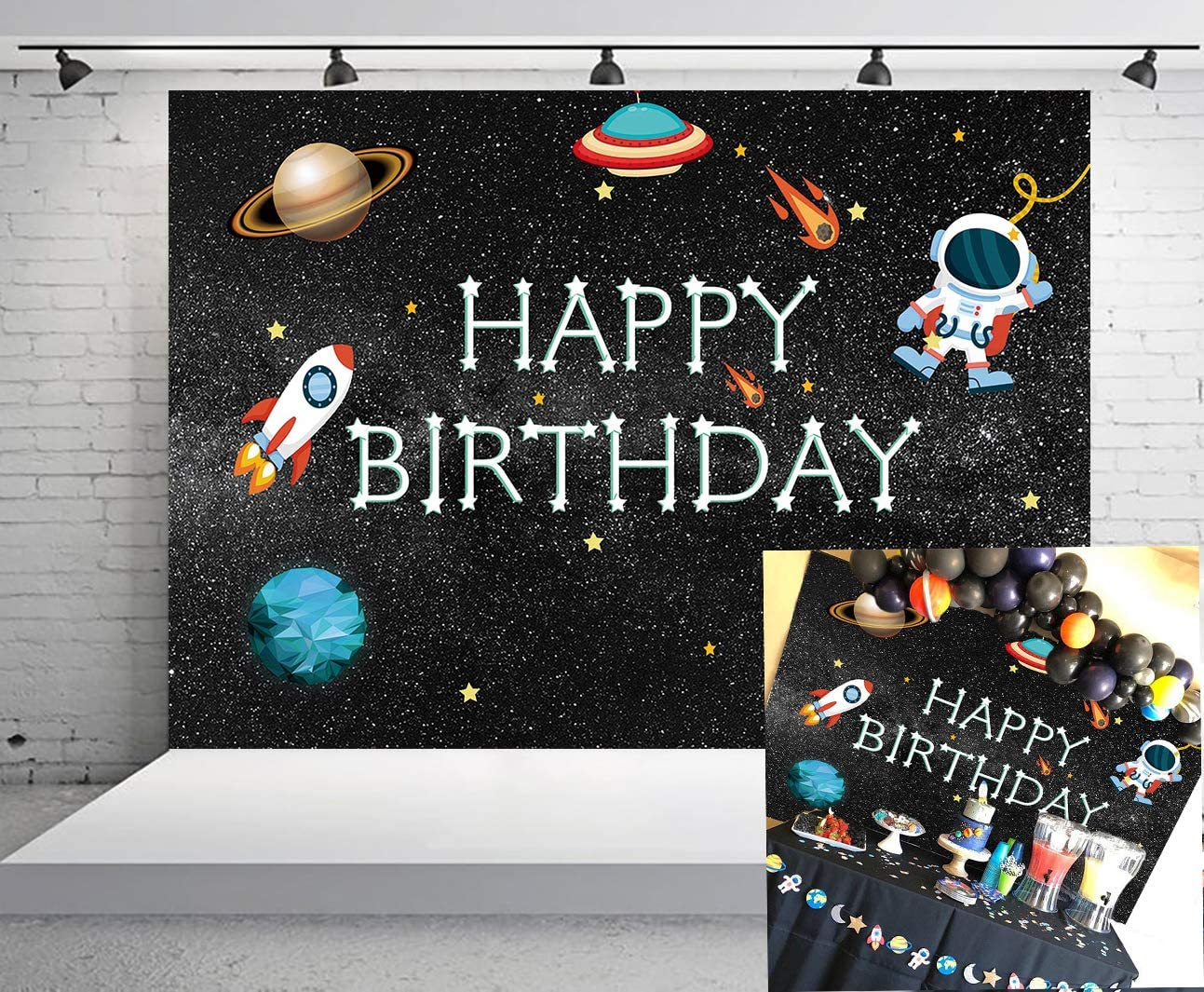 GYA 7x5ft Outer Space Rocket Astronaut Theme Backdrop Astrology Astronomy Planet Galaxy Photo Background Kids Childrens Boys Birthday Party Vinyl Decoration